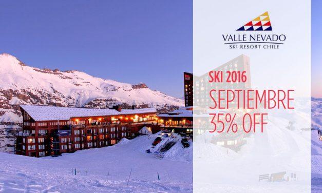 Valle Nevado 35% off septiembre