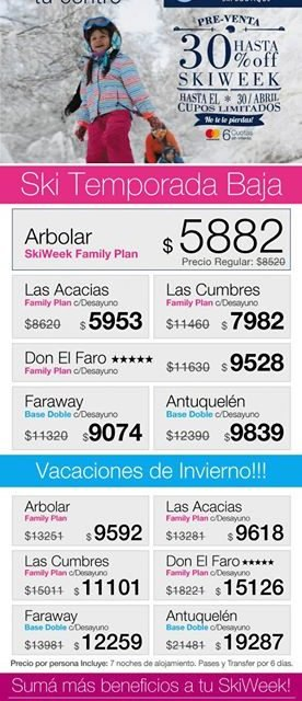 Cerro Bayo 30% OFF – Aprovechá las ofertas!!!! Cerro Bayo te ofrece este invier…
