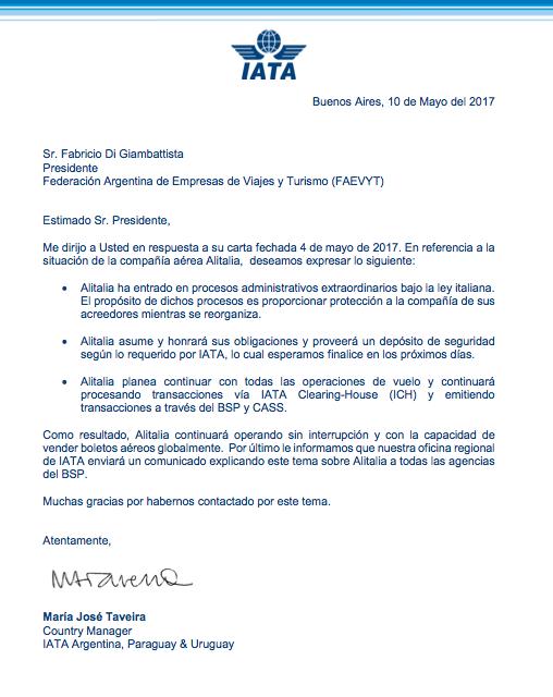 Carta redactada por IATA hacia la FAEVYT acerca de la situación actual de Alital…