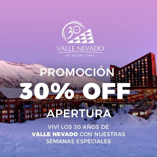 PROMO ARGENTINOS 30% OFF  Valle Nevado -Apertura 2018 22 de junio al 6 de juli…