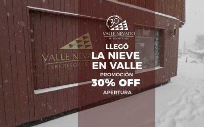 Llegó la Nieve en Valle Nevado. Promoción 30% OFF