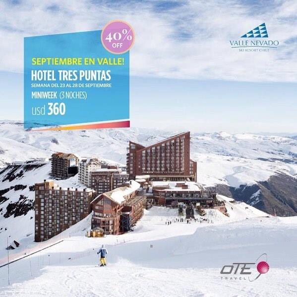 #ValleNevado  #Septiembre Espectacular promoción en el Hotel Tres Puntas para l…