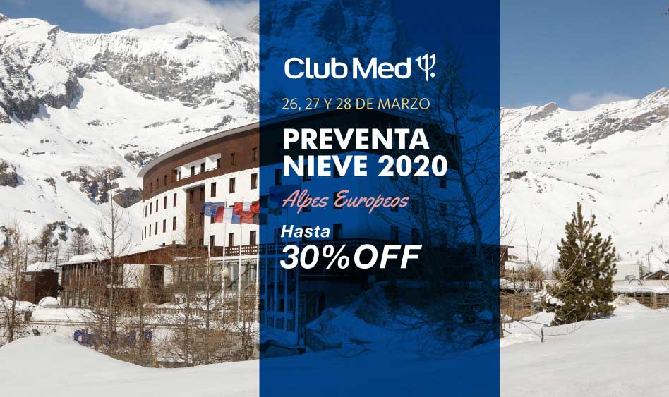 Club Med Preventa Nieve 2020 Hasta 30% off