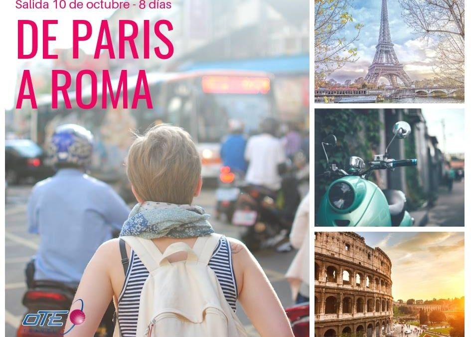 De Paris a Roma – 8 días Ticket aéreo BUE PAR ROM BUE  Traslados de llegada y …